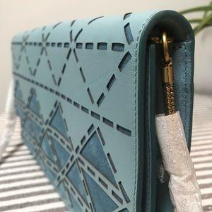 Anne Klein genuine leather oversized chain clutch